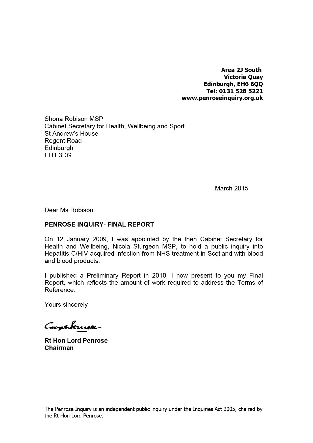 final report chairman s letter to the cabinet secretary